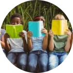 children holding multip color books reading