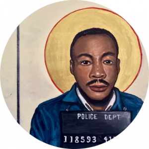 painting of MLK with police dept number