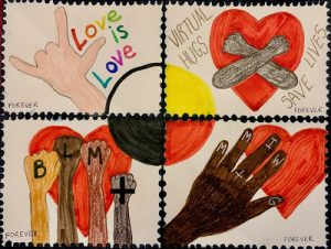 "drawing with 4 boxes reading ""Love is Love"", ""Virtual hugs save lives"", ""BLM+"", ""MMIWG+"""