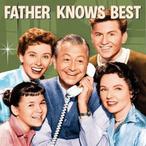"5 smiling cast members from TV show ""Father Knows Best"""
