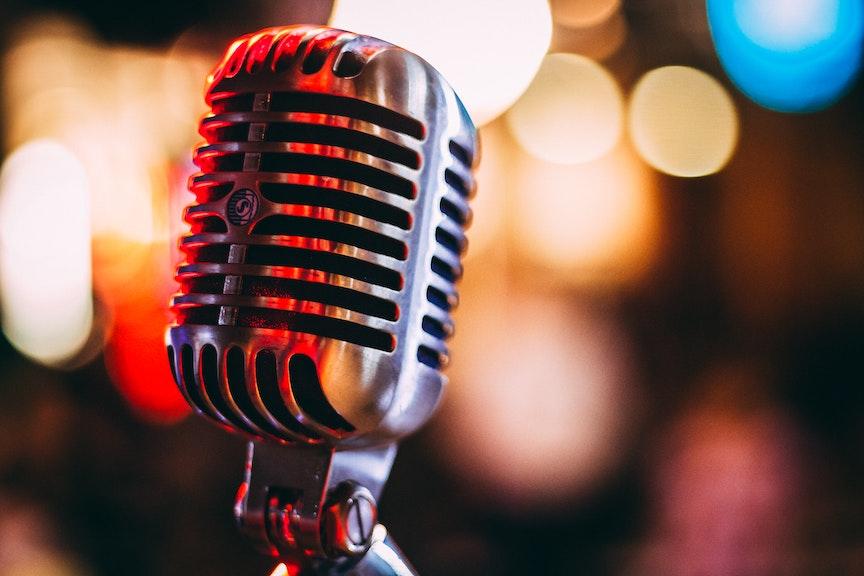 shiny old fashion microphone