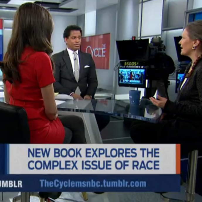 "Debby speaking on news show ""New Book Explores the Complex Issue of Race"""
