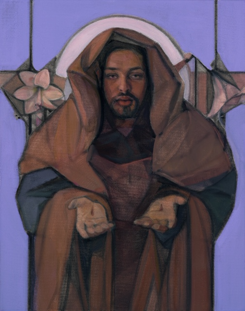 painting of Jesus with bleeding palms